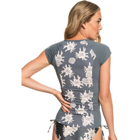 Roxy CS Fashion Lycra Cap Sleeve Rashguard Women Turbulence Rose And Pearls Swim